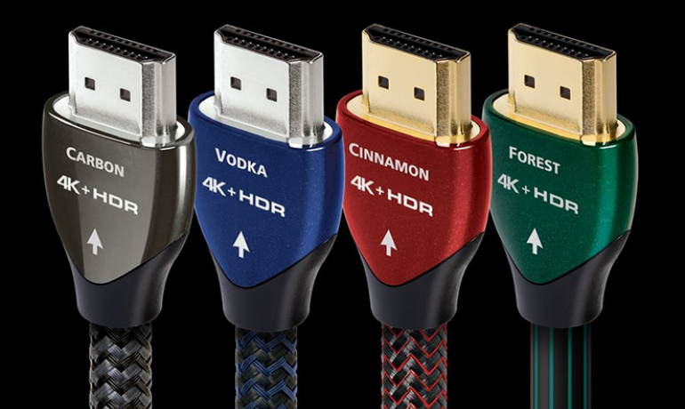 Four HDMI cables: carbon, vodka, cinnamon and forest