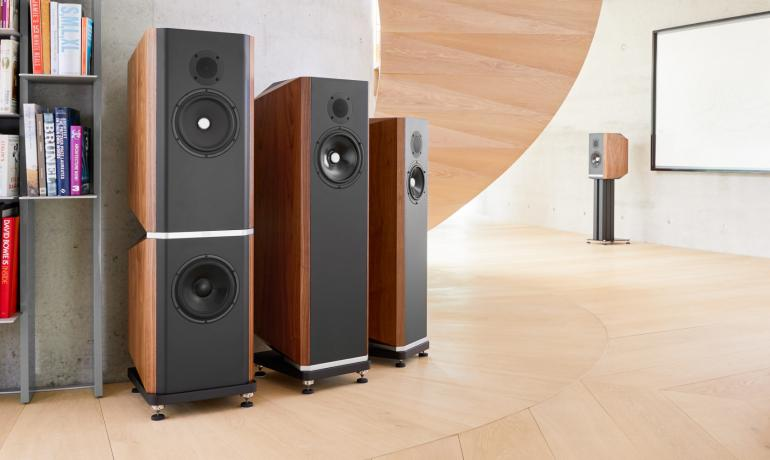 Image shows all four Titan speakers: 505, 606, 707 and 808 in a large room with a book shelf to the side.