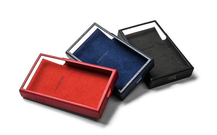 Three Astell & Kern SE100 Leather Cases in red, blue and black