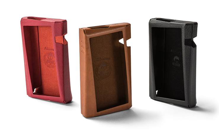 Three Astell & Kern SR25 cases pictured in red, brown and black.