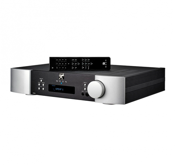Moon 240i Stereo Integrated Amplifier with remote control on top.