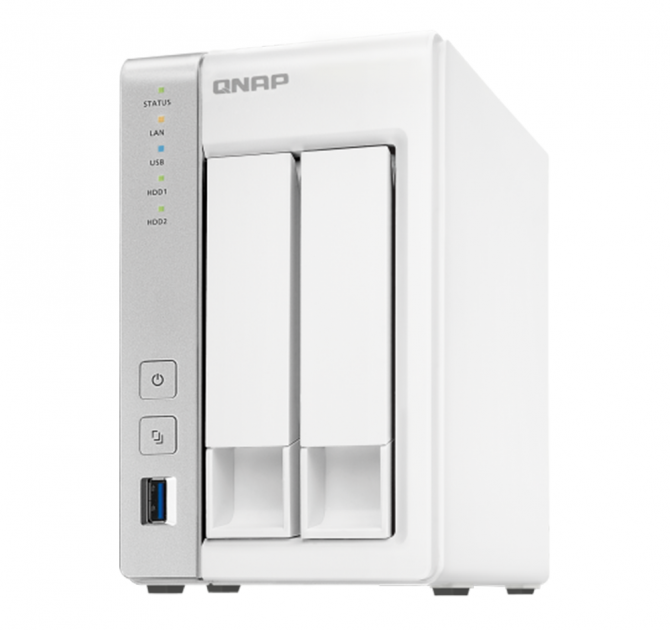 QNAP TS-231P2 Two Bay Network Attached Storage (NAS) front and side view.