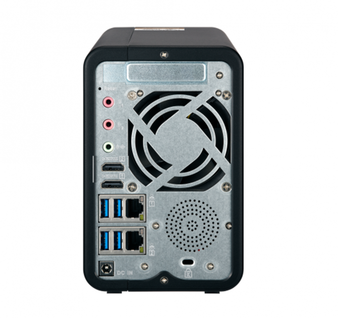 QNAP TS-253Be Two Bay Network Attached Storage (NAS) rear view.