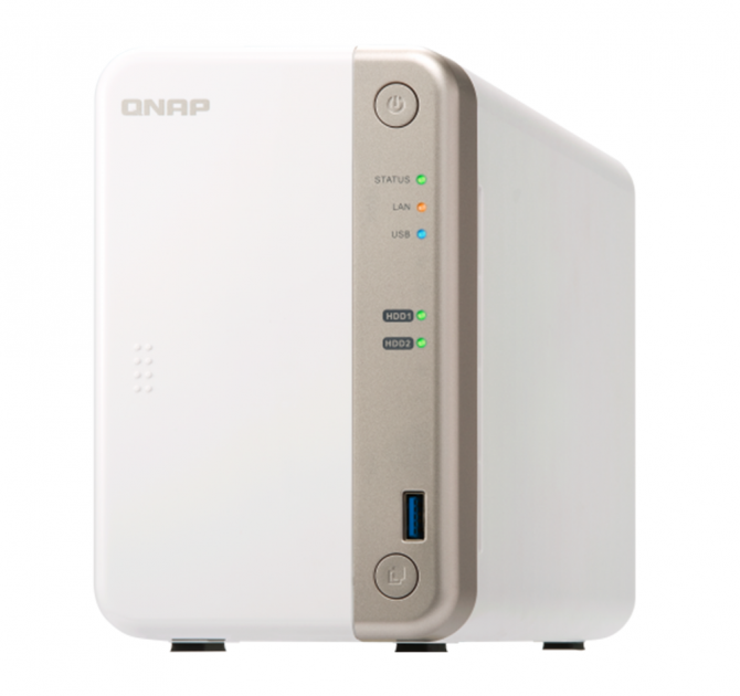QNAP TS-251B Two Bay Network Attached Storage (NAS) front and side view.