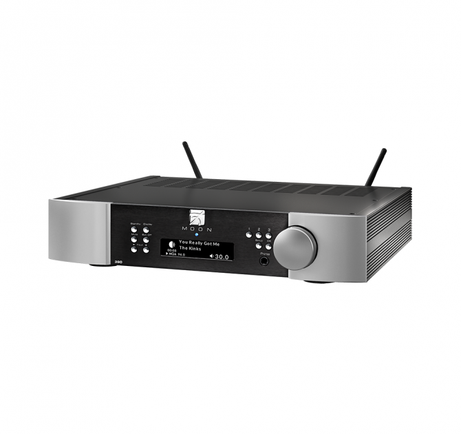 Moon 390 Preamplifier Network Player DAC in black and silver.