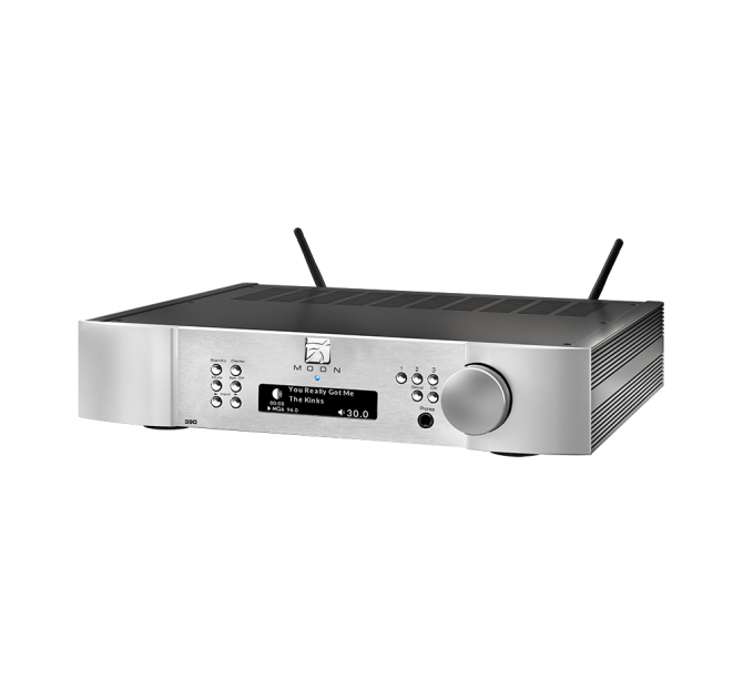 Moon 390 Preamplifier Network Player DAC in silver.