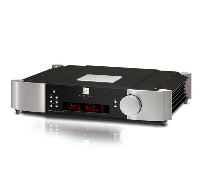 Moon 740P Single Chassis Reference Balanced Preamplifier in black and silver.