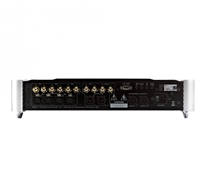 Moon 740P Single Chassis Reference Balanced Preamplifier rear view.
