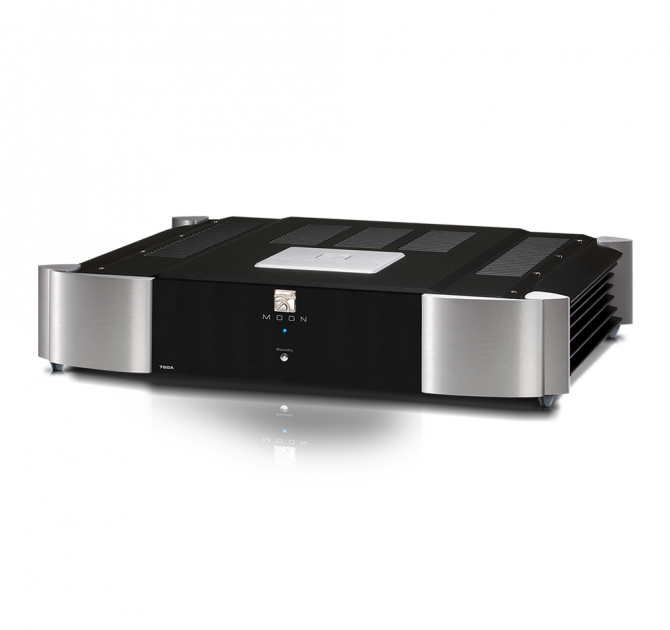 Moon 760A Dual Mono Power Amplifier in black and silver.