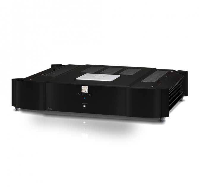 Moon 760A Dual Mono Power Amplifier in black.