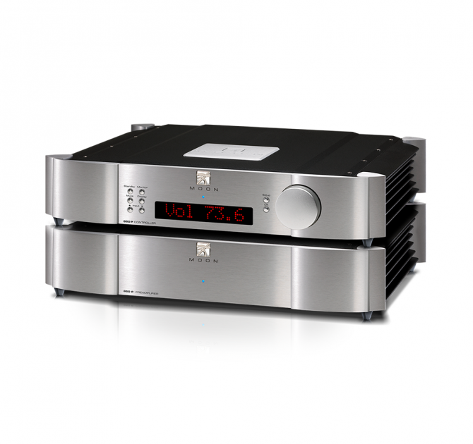 Moon 850P Dual Chassis Reference Balanced Preamplifier in silver.