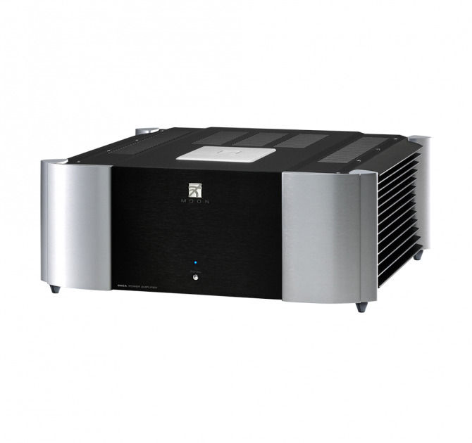 Moon 860A v2 Dual Mono Reference Two-Channel Power Amplifier in black and silver.