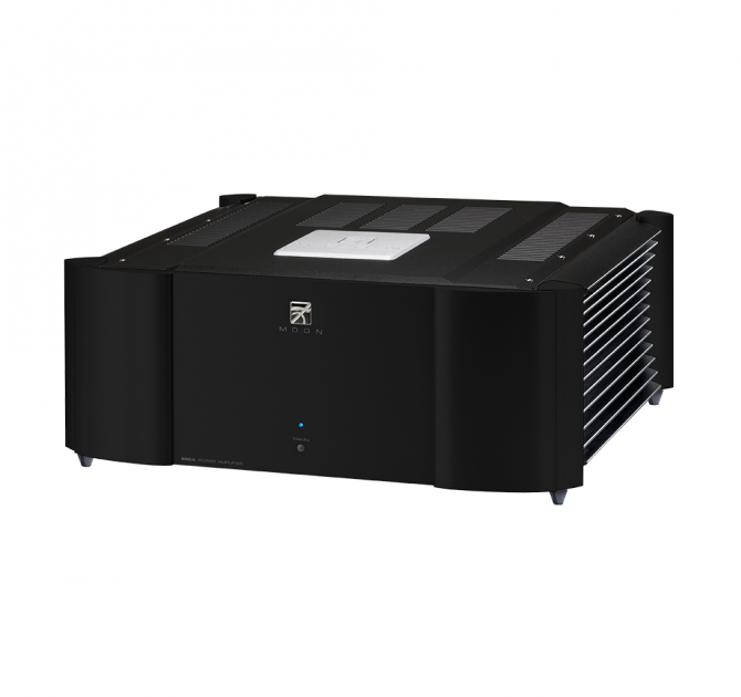 Moon 860A v2 Dual Mono Reference Two-Channel Power Amplifier in black.