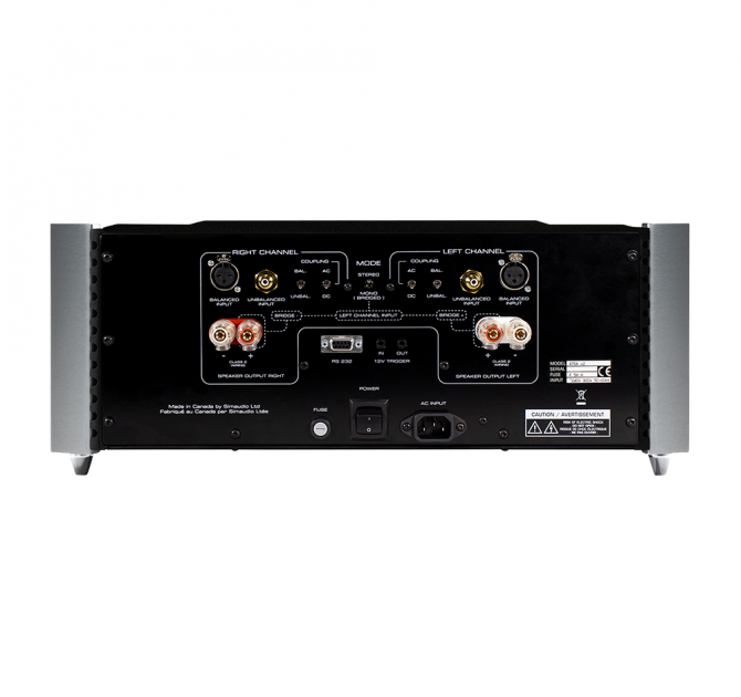 Moon 860A v2 Dual Mono Reference Two-Channel Power Amplifier rear view.