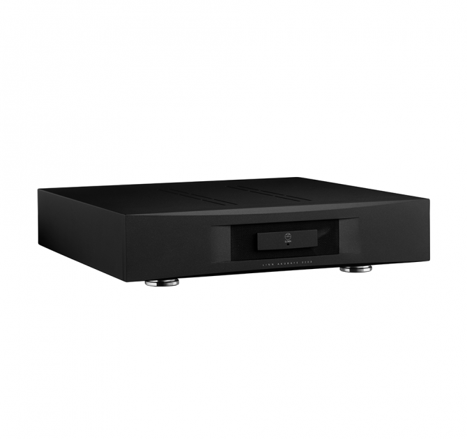 Linn Akurate 4200 in black front, side and top view.