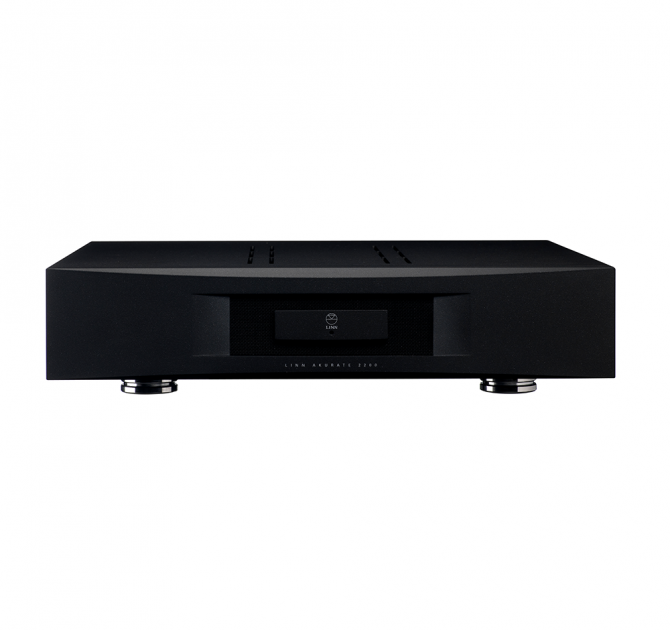 Linn Akurate 4200 in black front and top view.
