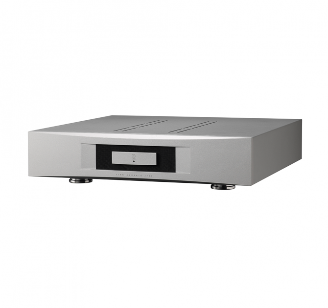 Linn Akurate 4200 in silver front, side and top view.