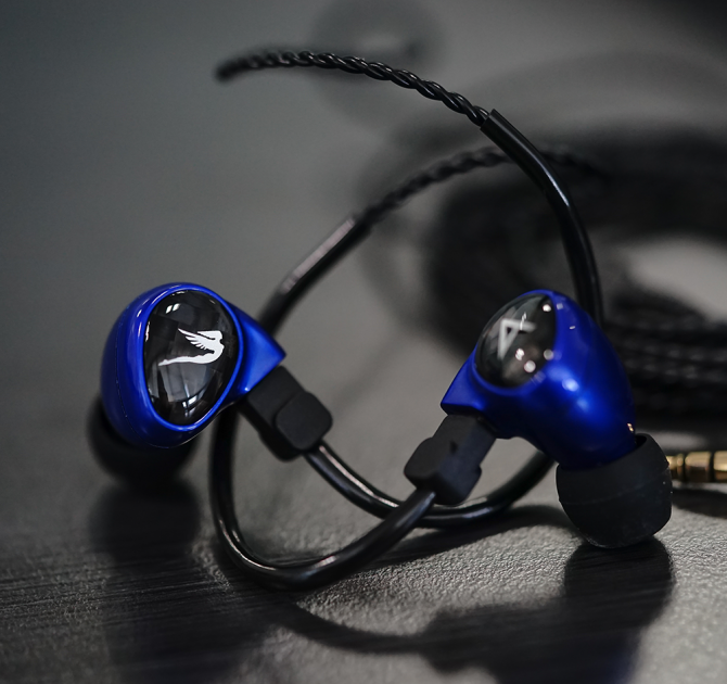Astell & Kern Billie Jean JH Audio Earphones in blue.