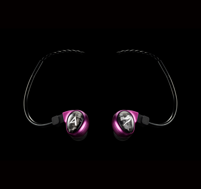 Astell & Kern Billie Jean JH Audio Earphones in purple.