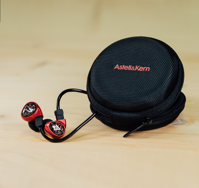 Astell & Kern Billie Jean JH Audio Earphones in red with case.