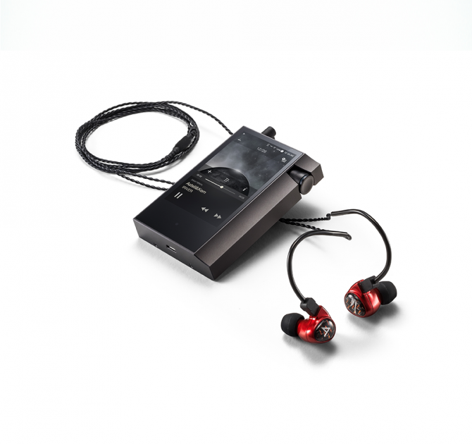 Astell & Kern Billie Jean JH Audio Earphones in red with a player.