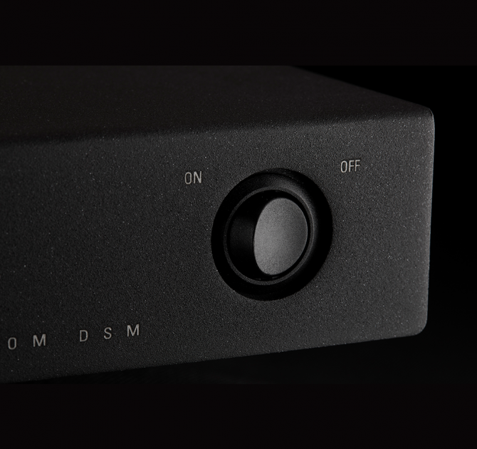 Linn Kustom DSM close-up of the power button