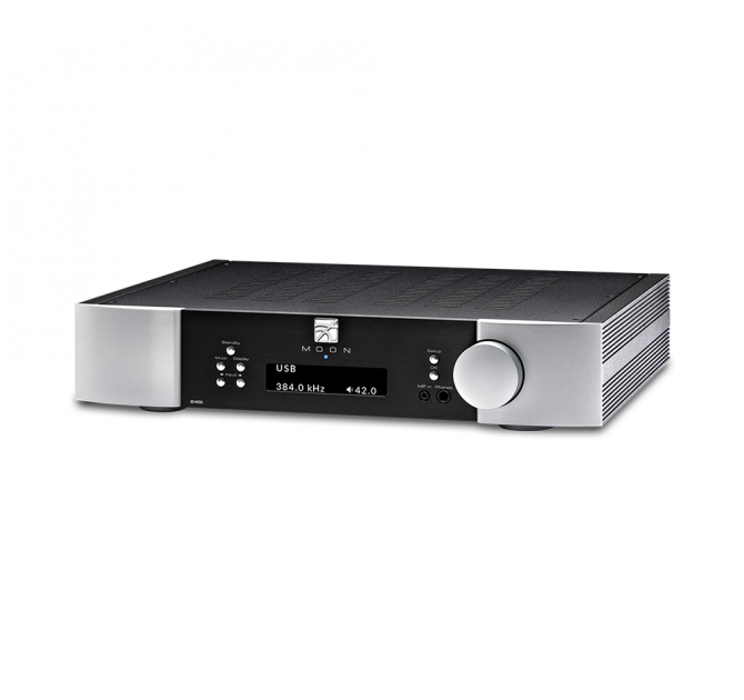 Moon 240i Stereo Integrated Amplifier in black and silver.