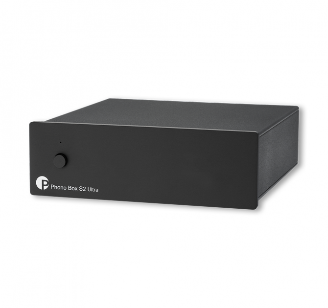 Project Phono Box S2 MM/MC Phono stage in black, front, top and side view