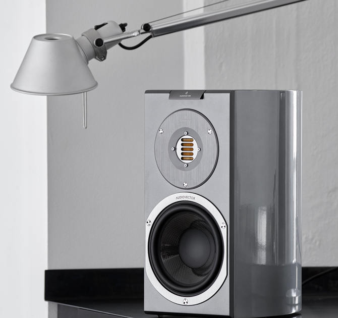 Audiovector R1 Avantgarde in custom grey with a lamp over it