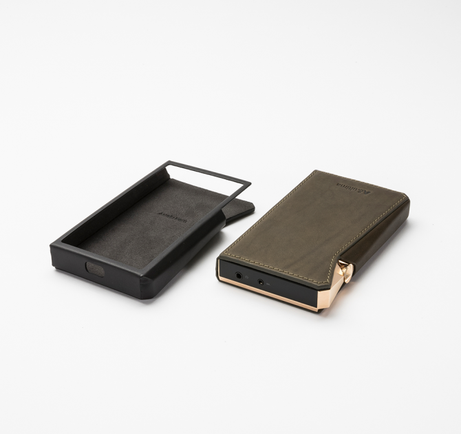Astell & Kern SP2000 Leather Case in juniper green and black.