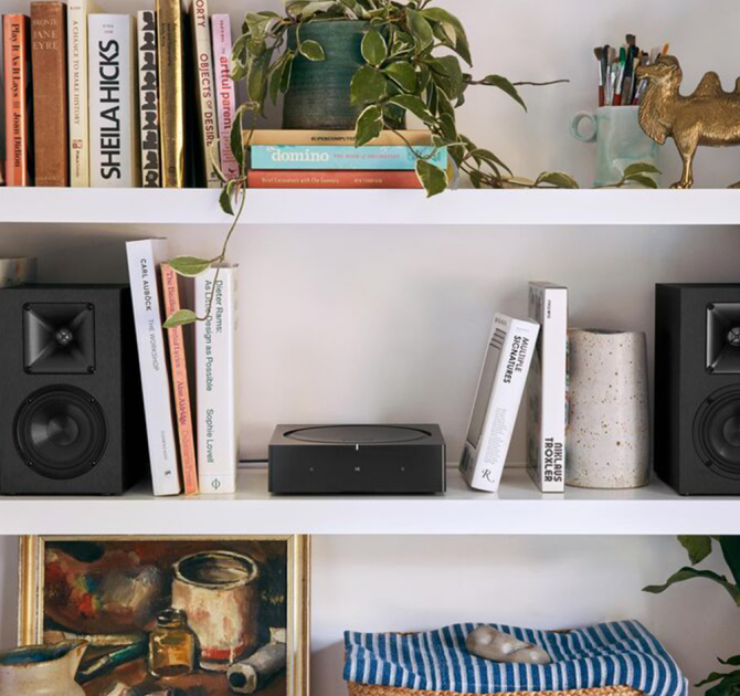 SONOS AMP on bookshelf