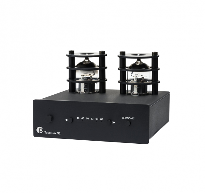 Project Tube Box S2 MM/MC Phono stage in black, front, side and top view