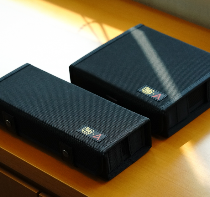Astell & Kern Van Nuys Case (2-Split) case next to 3 split case for comparison.