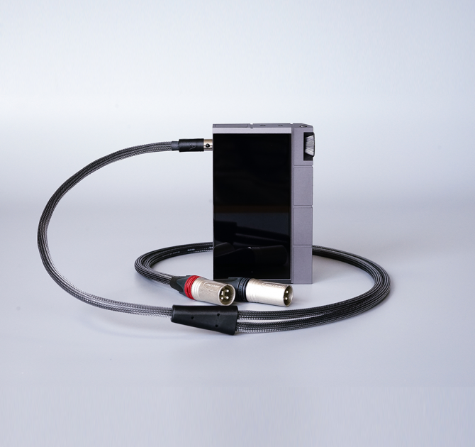 Astell & Kern XLR 5pin to 3pin XLR Cable 1.2m Black with Astell & Kern player.