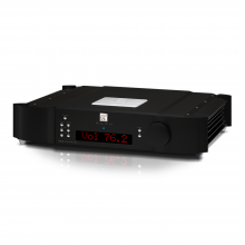 Moon 740P Single Chassis Reference Balanced Preamplifier front, side and top view.