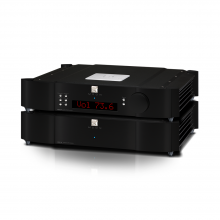 Moon 850P Dual Chassis Reference Balanced Preamplifier front, top and side view.