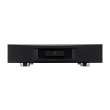 Linn Akurate 3200 in black, front view.