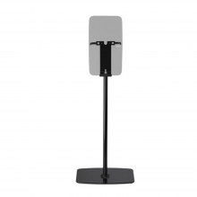 Flexson Floor Stand Play5 x1 in black with faded speaker image.