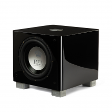 REL T/9x Sub-woofer in black, front, side and top view