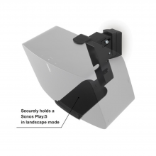 "Flexson Wall Mount Play5 x1 black with a faded Sonos Play:5 image and the words ""Securely holds a Sonos Play:5 in landscape mode""."