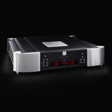 Moon 650D DAC and CD Transport in two-tone with a black background