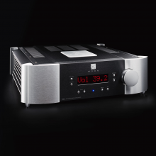 Moon 700i V2 Integrated Amplifier on a black background.