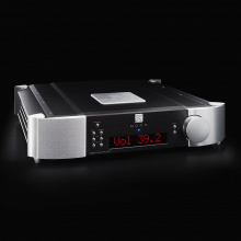 Moon 740P Single Chassis Reference Balanced Preamplifier on a black background.