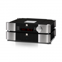 Moon 850P Dual Chassis Reference Balanced Preamplifier in black and silver.