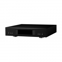 Linn Akurate DS in black, front, top and side view.
