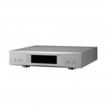 Linn Akurate DS in silver, front, top and side view.