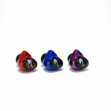 Astell & Kern Billie Jean JH Audio Earphones red, blue and purple.
