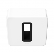SONOS Sub in white, front and top view