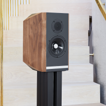 A single Titan 505 speaker with its grill off on a stand at the foot of a staircase.